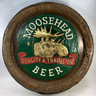 """Moosehead Beer Sign Embossed Man Cave 18"""" x 18"""" x 2"""" Barrel Sign Faux Wood"""