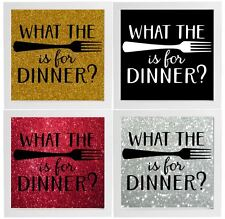 What The Fork Is For Dinner Decal Frame Wall Vinyl Glass Block