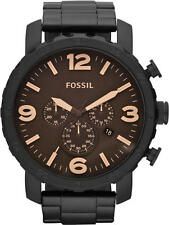 Fossil Men's JR1356 Nate Chronograph Black Dial Black Ion-Plated Watch