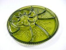"""Vintage Green Glass Platter Deviled Egg Relish Vegetable 12-3/4"""" Decorative"""