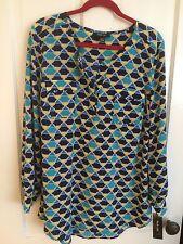 STYLE & Co Geometric Print Pattern Asymmetrical Tunic Blouse Top Wmen XL New NWT