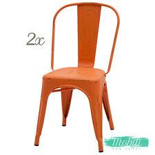 Sedia Stile INDUSTRY in Metallo Arancio Anticato - 2 Pezzi SPEDIZIONE GRATUITA