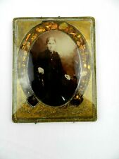 Vintage Antique Beveled Glass Picture Photo Shell Frame Women Mid 1800's