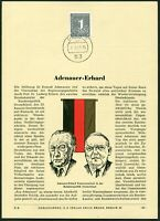 Privat ETB Ersttagsblatt Erich Braun EB 61 Adenauer - Erhard 1963 Bund