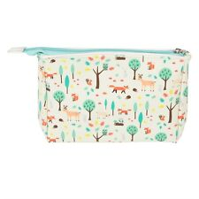 Sass and Belle Cream Whimsical Woodland Make Up Bag Wipeable Faux Leather