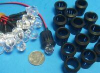 HO 1:87 Train 10mm Bulb, Resistor Leads GREEN LED LIGHTS & HOLDERS 10 PCS