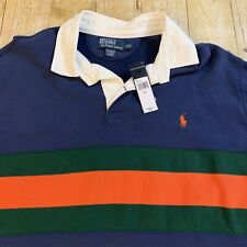 Polo Ralph Lauren Long Sleeve Rugby Shirt Men XXL Navy Blue Green Orange Stripe