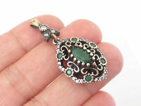 TURKISH 925K STERLING SILVER EMERALD HANDMADE Marquise HURREM SULTAN PENDANT