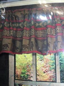 2- HiEnd Accents Cascade Lodge Window Valance Bear Silhouette Cabin Rustic