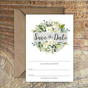 SAVE THE DATE BLANK WEDDING CARDS Grey & Ivory Rose PK 5