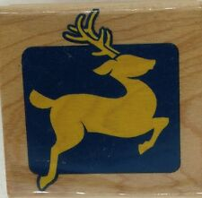 """reindeer canadian maple  Wood Mounted Rubber Stamp 2x2"""" Free Shipping"""