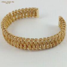 "Woman's 14K Yellow GOLD Cuff Bangle, Fancy Milor Bracelet (a25 30) 6 1/2"" 16.5G"