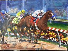 Original oil painting of Justify, 2018 Preakness, Triple Crown horseracing