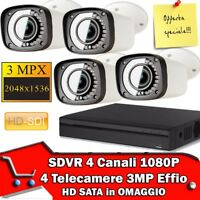 KIT PROFESSIONALE DVR 4 Canali IBRIDO + 4 TELECAMERE AHD 3000TVL + HD  +  Alim