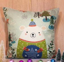 New Polar Bear Christmas Cushion Cover Pillowcase Winter Holiday Cute Home Decor