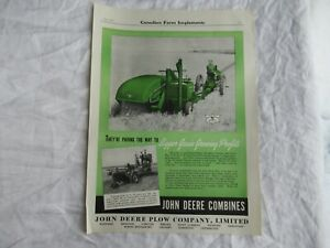 1941 John Deere 11-A 12-A combine magazine print ad poster