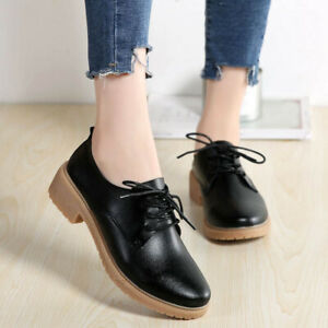 British Womens Oxfords Casual Rubber Flats Lace Up College Pumps Brogue Shoes Sz