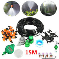 15m Watering Irrigation System Sprinkler Drip Garden Hose DIY W/ Automatic Timer