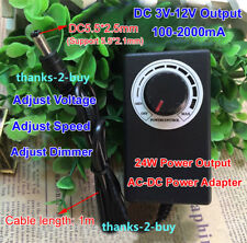 Universal 24W AC-DC Power Adapter to DC 3-12V 2A For Motor Speed Control Dimmer