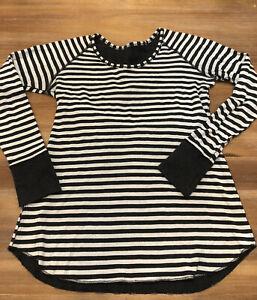 Lululemon Open Your Heart Long Sleeve Wide Stripe Black White Sz 10? Small Flaw