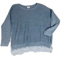 Anthropologie Pins & Needles Sweaterv Gray Knit  Lace Trim Pullover Size Medium