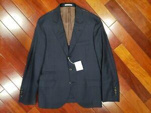 Brunello Cucinelli Navy Plaid Sports Jacket Size 38 (US) 48 (IT)