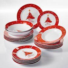 20Pcs Xmas Christmas Tree Dinner Set Red Porcelain Tableware Plates Bowls Gift