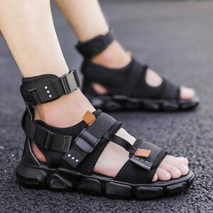 Men Ankle Strap Sandals High Top Sports Flats Outdoor Open Toe Hip Hop Shoes