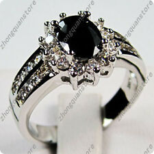 925 Silver Oval Cut Black Sapphire Zircon Wedding Band Ring Jewelry Size 5-12