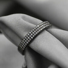 TOP Cut 18k Black Gold Filled White Crystal Wedding Ring Set Gift Rings Sz 8 QT1