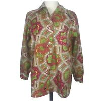 Vintage 70s Ship N Shore Blouse Top 18 Womens Paisley Pink Brown Disco Shirt