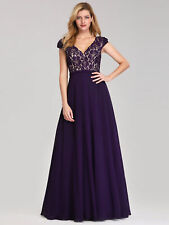 Ever-Pretty Bridesmaid Dress Long Purple A-line V-neck Lace Cocktail Gown 07344
