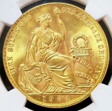 1964 GOLD PERU 100 SOLES SEATED LIBERTY COIN NGC MINT STATE 62