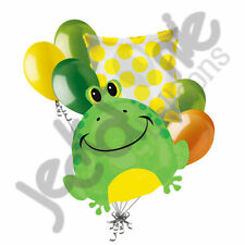 7 pc Happy Lime Green Frog Balloon Bouquet Party Decoration Birthday Baby Toad