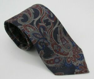 Eton Hand Made Italy Blue Burgundy Gray Paisley 100% Wool Tie