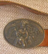 Vintage Belt Buckle and Leather Belt Native American Theme