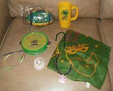 Mardi Gras Souvenirs Football, Tambourine, Scarf, Beads, Cup, Face Pin+ Surprise