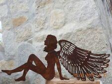 Edelrost Engel mit Flügel Muster 25 x 60 cm Weihnachten Advent Garten Terrasse