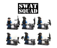 Lot 6 Mini figurines style Lego Police Swat + armes + équipement neuf