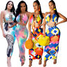 Women Halter Backless Colorful Print Casual Club Party Midi Dress Skirts Set 2pc