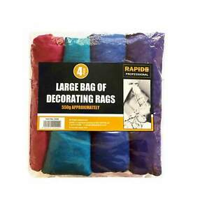 4 Pack Large Bags of Decorating Rags Assorted Colour Home and Garden 550g