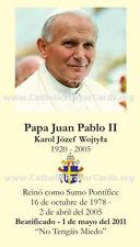 Spanish - Commemorative John Paul II Beatification Prayer Card (wallet size)