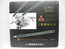 NEW Mitsubishi Drawing pencil  9800DX 22 Degrees 10B-8H with metal case(Japan)