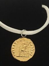 "Aureus Of Nero Coin WC57 Gold Fine English Pewter On a 18"" White Cord Necklace"