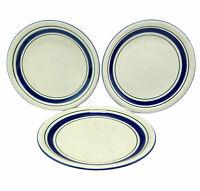 "Tienshan Stoneware Dinner Plates Blue Green Band Farmhouse 10 3/4"" Set of 3"