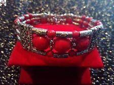 Brazalete plata tibetana rojo