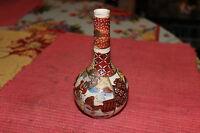Antique Japanese Chinese Satsuma Moriage Bulbous Vase Long Neck Small Asian Vase