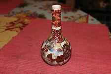 Antique Japanese Chinese Satsuma Moriage Bulbous Vase Long Neck-Small Asian Vase