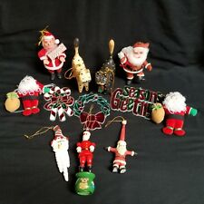 Vintage Christmas Ornament Lot 12 Pieces Stained Glass Flocked Santas Wood Cats