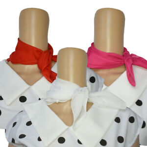 Red White Pink Neckerchief Neck Scarf Bandana Cowgirl Grease Rock n Roll NEW